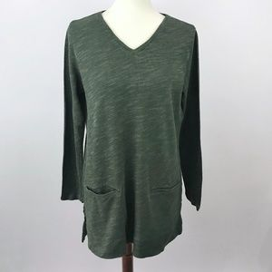 J. Jill Olive Green Long Sleeve Sweater Tunic Top